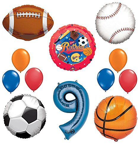 The Ultimate Sports Theme 9th Birthday Party Supplies and Balloon Decorating Kit