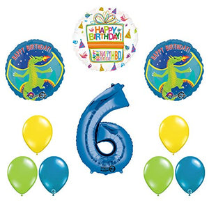 Dragon 6th Birthday Party Supplies and Balloon Decoration Bouquet