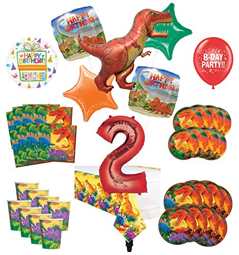 Mayflower Products Dinosaur 2nd Birthday Party Supplies 8 Guest Decoration Kit and Prehistoric T-Rex Balloon Bouquet