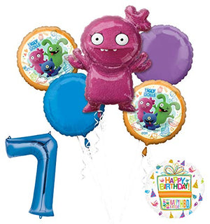 "Mayflower Products Ugly Dolls 7th Birthday Party Supplies 34"" Blue Number 7 Balloon Bouquet Decorations"