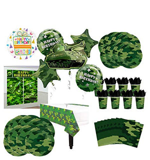 Mayflower Products Army Tank Birthday Party Supplies 8 Guests Military Camouflage Balloon Bouquet Decorations