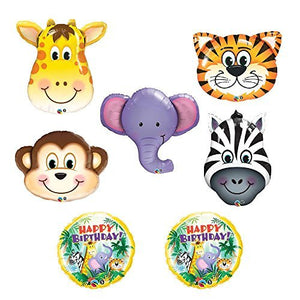 The ULTIMATE Safari Jungle Zoo Animals Jumbo Birthday Party Balloons Zebra, Tiger, Giraffe & Monkey and Elephant