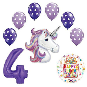 Lavender Unicorn Polka Dot Latex Rainbow 4th Birthday Party Balloon supplies and decorations