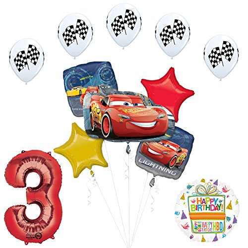 Disney Cars 3 Lighting McQueen 3rd Birthday Party Supplies and Balloon Decorations