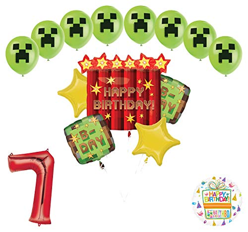 Miner Pixelated TNT Video Game 7th Birthday Balloon Bouquet Decorations