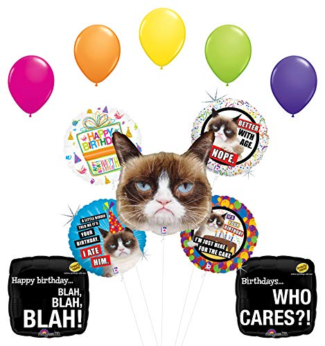 "Grumpy Cat Birthday Party Supplies Who Cares Balloon Bouquet Decorations with (5) 11"" Latex"