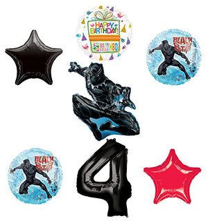 Black Panther 4th Birthday Balloon Bouquet Decorations and Party Supplies