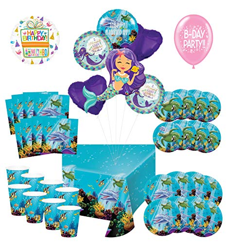 Mayflower Products Under The Sea Birthday Party Supplies 8 Guest Entertainment kit and Mermaid Ocean Animals Balloon Bouquet Decorations