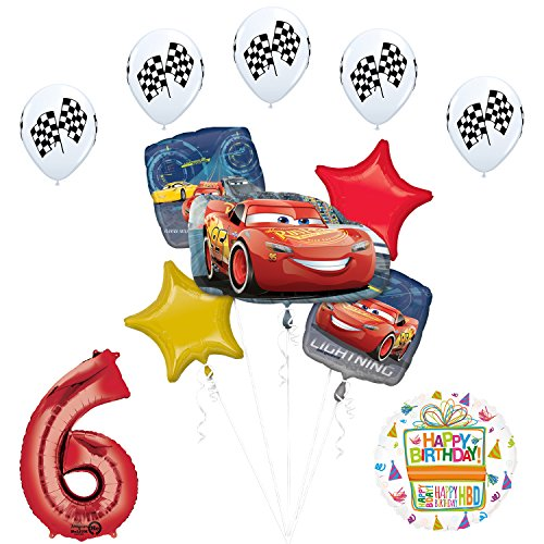 Disney Cars 3 Lighting McQueen 6th Birthday Party Supplies and Balloon Decorations