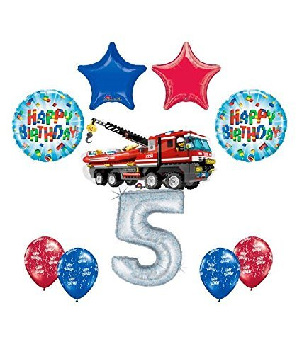 10 pc LEGO CITY Fire Engine Firetruck 5th Birthday Party Balloon Decorating Supply Kit