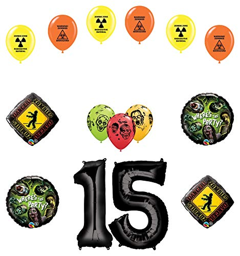 Mayflower Products Zombies 15th Birthday Party Supplies Walking Dead Balloon Bouquet Decorations
