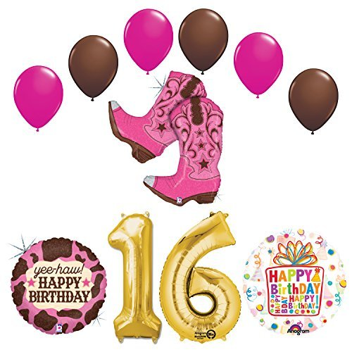 Wild West Cowgirl Boots Western Sweet 16th Birthday Party Supplies and Balloons Decorations