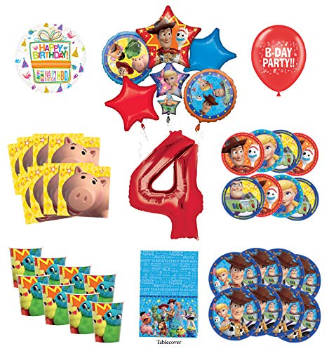 Toy Story 4th Birthday Party Supplies 16 Guest Decoration Kit with Woody, Buzz Lightyear and Friends Balloon Bouquet