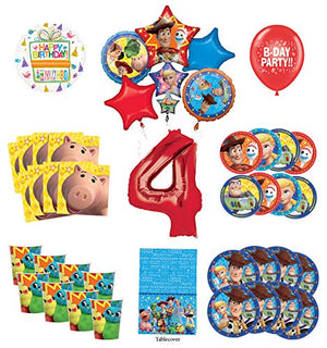 Toy Story 4th Birthday Party Supplies 8 Guest Decoration Kit with Woody, Buzz Lightyear and Friends Balloon Bouquet