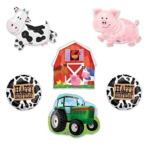 Barn Farm Animals Birthday Party Cow, Pig, Tractor, Barn Balloons Decorations Supplies