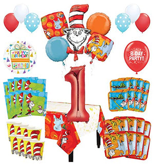 Mayflower Products Dr Seuss 1st Birthday Party Supplies 16 Guest Decoration Kit and Balloon Bouquet