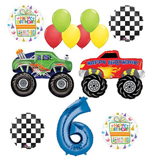 Monster Truck Party Supplies 6th Birthday Balloon Bouquet Decorations