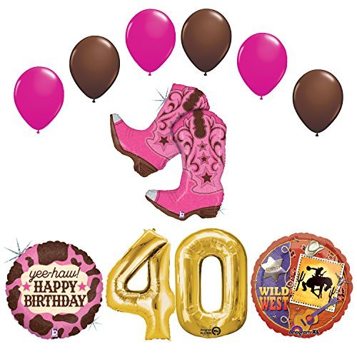 Wild Wild West 40th Cowgirl Boots Birthday Party Supplies and Balloons Decorations