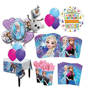 The Ultimate 8 Guest 54pc Frozen Olaf Anna Elsa Birthday Party Supplies and Balloon Decoration Kit