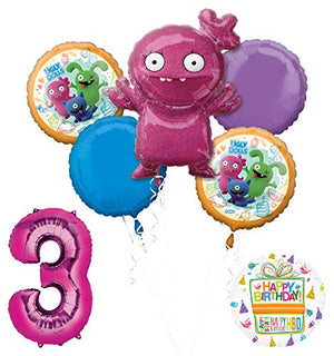 "Mayflower Products Ugly Dolls 3rd Birthday Party Supplies 34"" Pink Number 3 Balloon Bouquet Decorations"