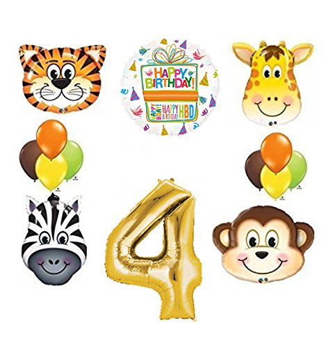 Jungle Animal Safari Forth 4th Birthday Party Supplies and Balloon Decorations
