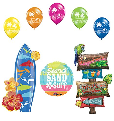 Beach Luau Party Supplies Margaritaville and Surfboard Balloon Bouquet Decorations