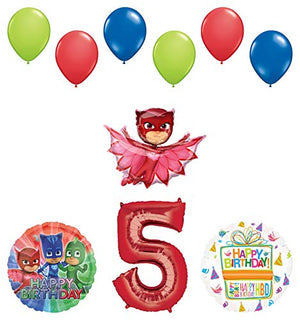 Mayflower Products PJ Masks Owlette 5th Birthday Party Supplies Balloon Bouquet Decorations