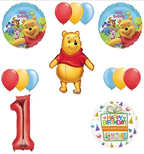 Winnie The Pooh 1st First Birthday Party Supplies and Balloon Bouquet Decorations