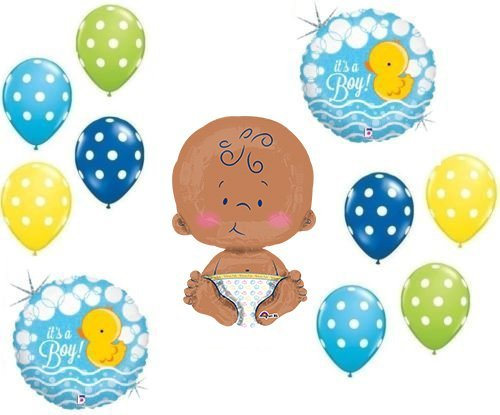 "IT'S A BOY RUBBER DUCKY COLORFUL POLKA DOTS 24"" CELEBRATE BABY SHOWER Balloons Decorations Supplies Duck"