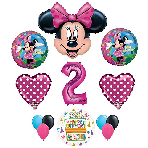 Minnie Mouse 2nd Birthday Party Supplies and Pink Bow 13 pc Balloon Decorations