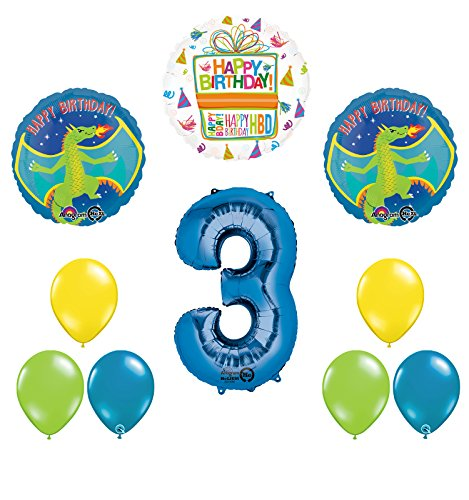 Dragon 3rd Birthday Party Supplies and Balloon Decoration Bouquet