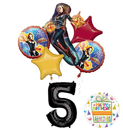 Mayflower Products Captain Marvel Party Supplies 5th Birthday Balloon Bouquet Decorations