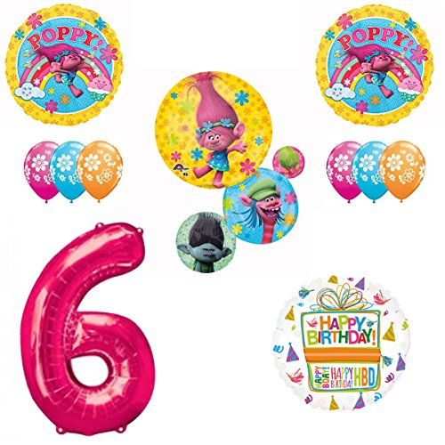 TROLLS Movie 6th Happy Birthday Party Balloons Decoration Supplies Poppy Branch Movie by Mayflower Products