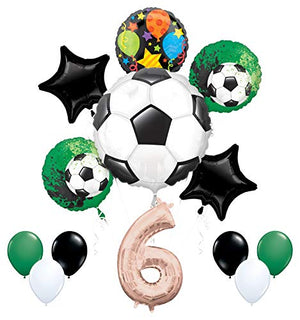 Mayflower Products Soccer Party Supplies 6th Birthday Girls Goal Getter Balloon Bouquet Decorations - Rose Gold 6