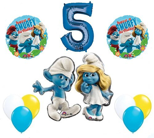 The Smurfs Birthday Party Supplies Smurf and Smurfette 5th Smurfy Birthday Balloon Decorations