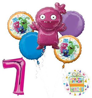 "Mayflower Products Ugly Dolls 7th Birthday Party Supplies 34"" Pink Number 7 Balloon Bouquet Decorations"