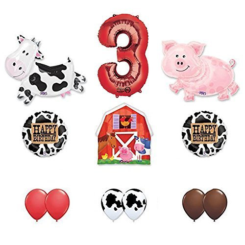 Barn Farm Animals 3rd Birthday Party Supplies Cow, Pig, Barn Balloon Decorations