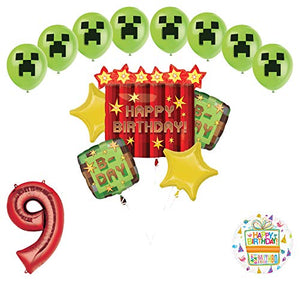 Miner Pixelated TNT Video Game 9th Birthday Balloon Bouquet Decorations