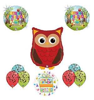 Woodland Creatures Birthday Party Supplies Baby Shower Owl Balloon Bouquet Decorations