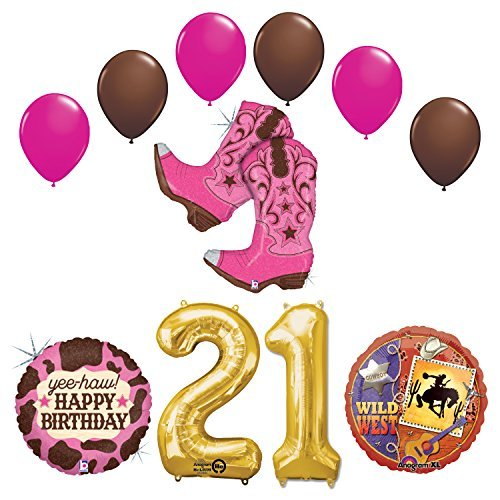 Wild Wild West 21st Cowgirl Boots Birthday Party Supplies and Balloons Decorations