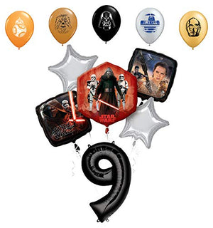 "Star Wars 9th Birthday Party Supplies Foil Balloon Bouquet Decorations with 5pc Star Wars 11"" Character Print Latex Balloons Chewbacca, Darth Vader, C3PO, R2D2 and BB8"
