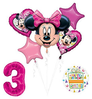 NEW Minnie Mouse 3rd Birthday Party Supplies Balloon Bouquet Decorations
