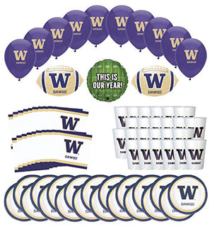 Mayflower Products Washington Huskies Football Tailgating Party Supplies for 20 Guest and Balloon Bouquet Decorations