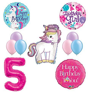 Unicorn 5th Birthday Girl Party Supplies and Balloon Decorations