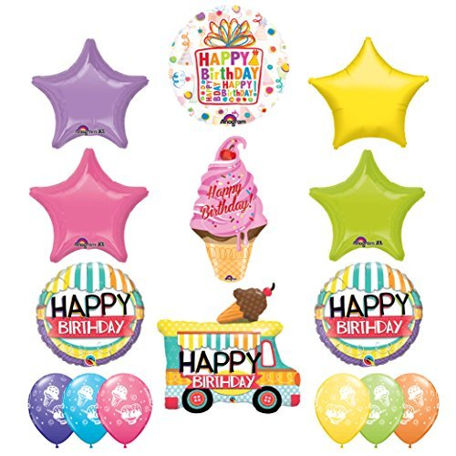 ULTIMATE Ice Cream Cherry On Top Balloon Birthday Party Supplies Decorations With Ice Cream Treat Latex