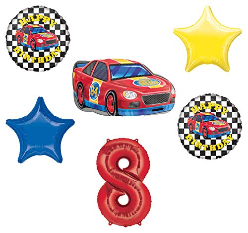 Race Car Theme 8th Birthday Party Supplies Stock Car Balloon Bouquet Decorations