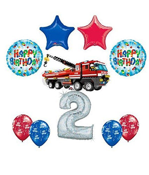 10 pc LEGO CITY Fire Engine Firetruck 2nd Birthday Fire Truck Party Balloon Decorating Supply Kit