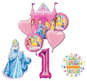 Mayflower Products Princess 1st Birthday Party Supplies Cinderella Balloon Bouquet Decorations