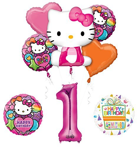 Hello Kitty 1st Birthday Party Supplies and Balloon Bouquet Decorations