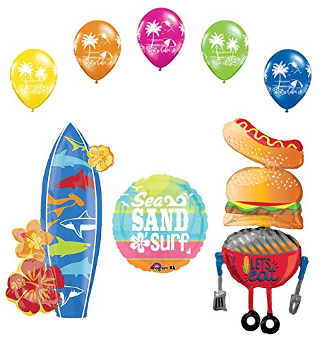 Beach BBQ Luau Party Supplies BBQ and Surfboard Balloon Bouquet Decorations